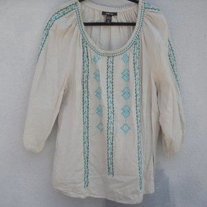 Style & Co. Embroidered Boho Peasant Top Large